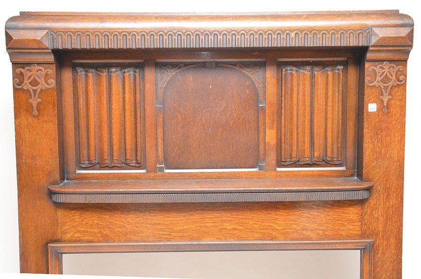"Antique oak fireplace mantle, 72""h x 53""w - 2"