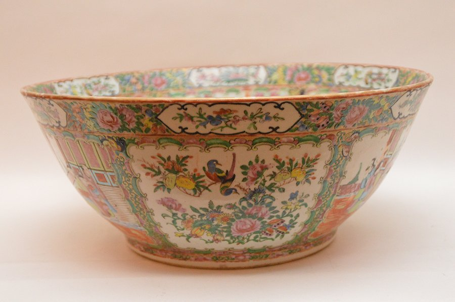 Chinese Rose Medallion Porcelain Punch Bowl.  Ht. 6