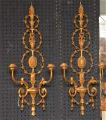 """Pair Carved Giltwood Two Light Sconces.  Ht. 30"""" sold"""