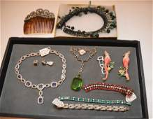 Lot 8 Pieces Costume Jewelry: 1 Signed Coro Enameled