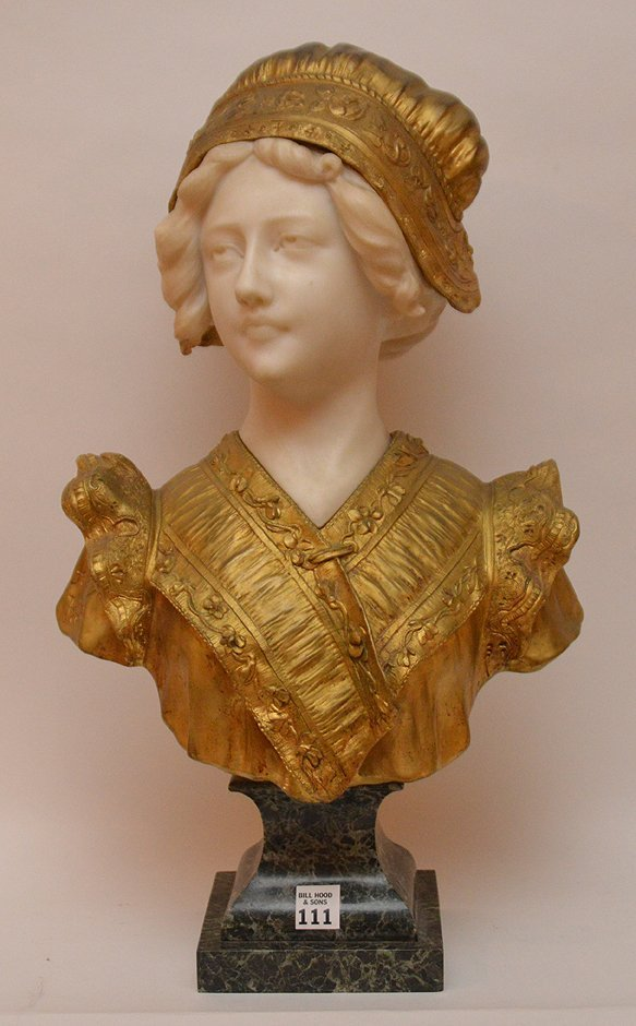 AFFORTUNATO GORY MARBLE & GILT BRONZE BUST OF A YOUNG