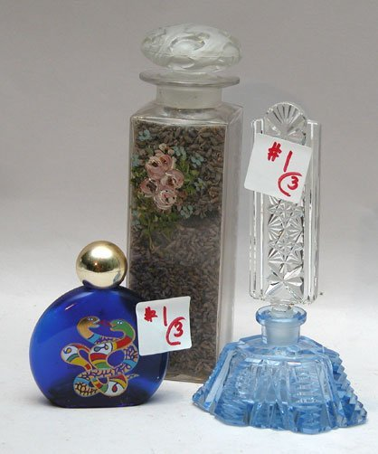 "1: 3 old perfume bottles : one is 2 3/4""h, one is 5 1/2"