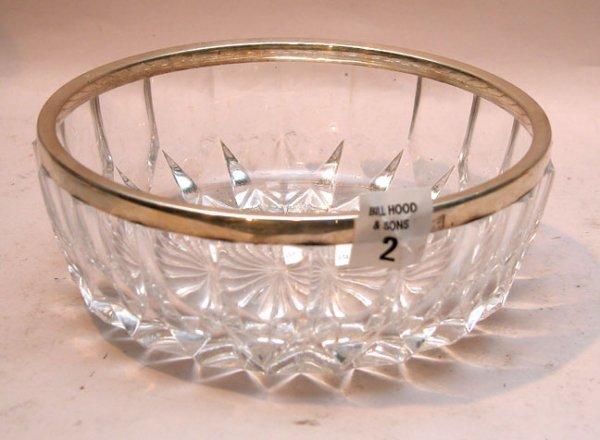 "2: 925 sterling rimmed bowl, 6 3/4""wx2 1/2""h"