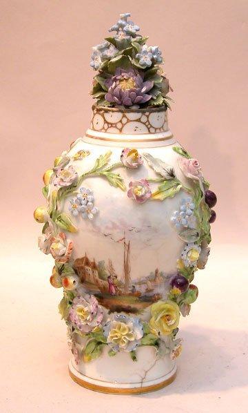 "6: Early hand painted German jar, losses, 8""h in"