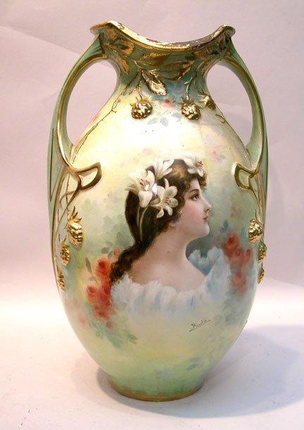 """7: Large Royal Bonn portrait vase, signed""""""""Bode"""", repai"""