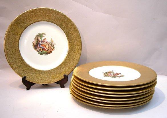 "8: 9 Limoges 10 1'4"" gold rim service plates"