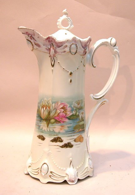 9: R.S. Prussia chocolate pot, water lilies decoration