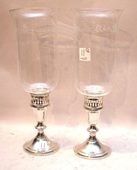 11: Pr Towle sterling candleholders with etched hurrica