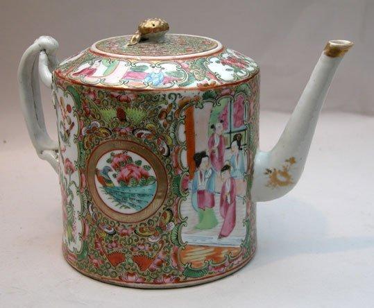 "13: Older Rose Medallion tea pot,5 1/2""hx8 1/2""w"