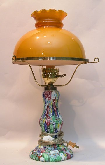 "14: Multi colored glass lamp w/ amber glass shade, 19""h"