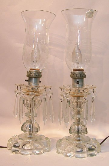 16: Pair of crystal lamps w/ clear hurricane shades, 16