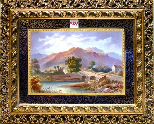 "20A: Fine painting on porcelain, ""Greta Bridge"" in orna"