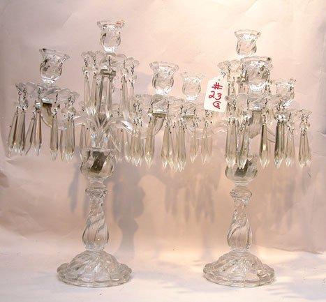 23: Pair of very fine Fostoria 4 light crystal candelab