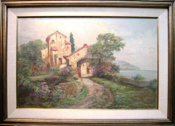 51: Delmar, French School, oil on canvas, Villa on Ocea