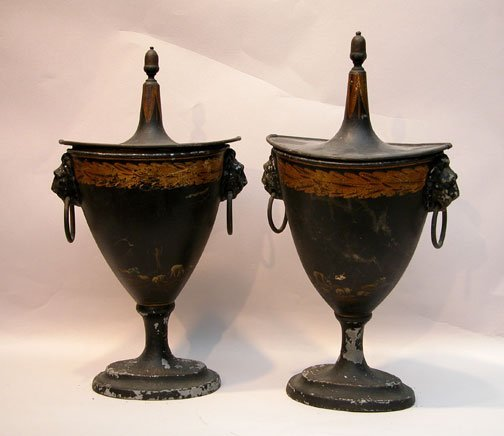 99: Antique pair of Tole black painted urns, hand paint