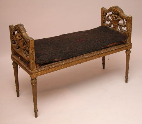 120: Louis XVI heavily giltwood carved bench, floral ba