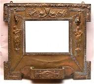 157 Mirror with embossed brass frame with hat rack 2