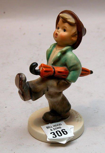 306: Hummel figurine, little boy with umbrella underarm