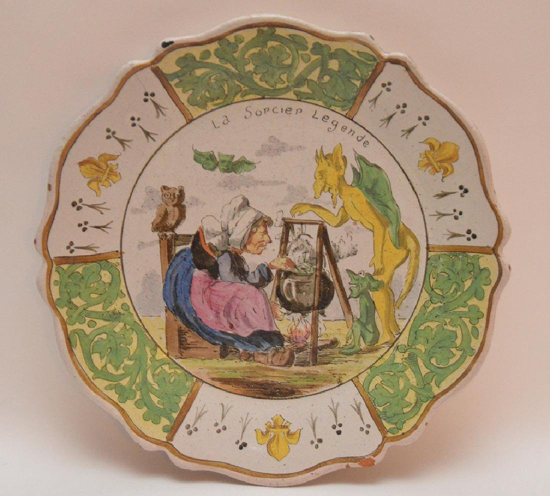 """French Faience/Quimper plate, 18th c. """"The Sorcier"""