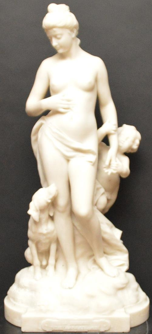 EMILE-ANDRE BOISSEAU (French) White Marble Sculpture