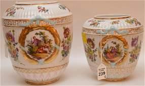 2 Royal Rudolstadt Porcelain Vases  Lager Ht 9 14