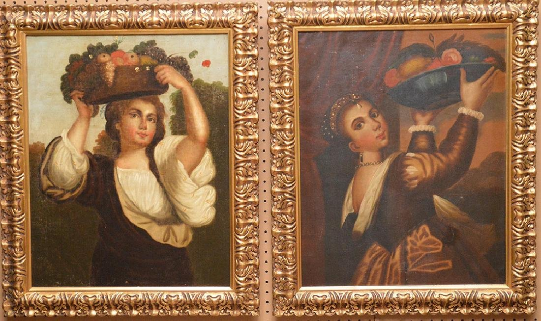 Pair of Primitive oil on canvas paintings, girls with