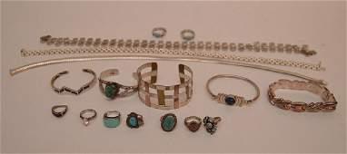 Sterling jewelry lot, incl; 5 bracelets, 3 necklaces, 7