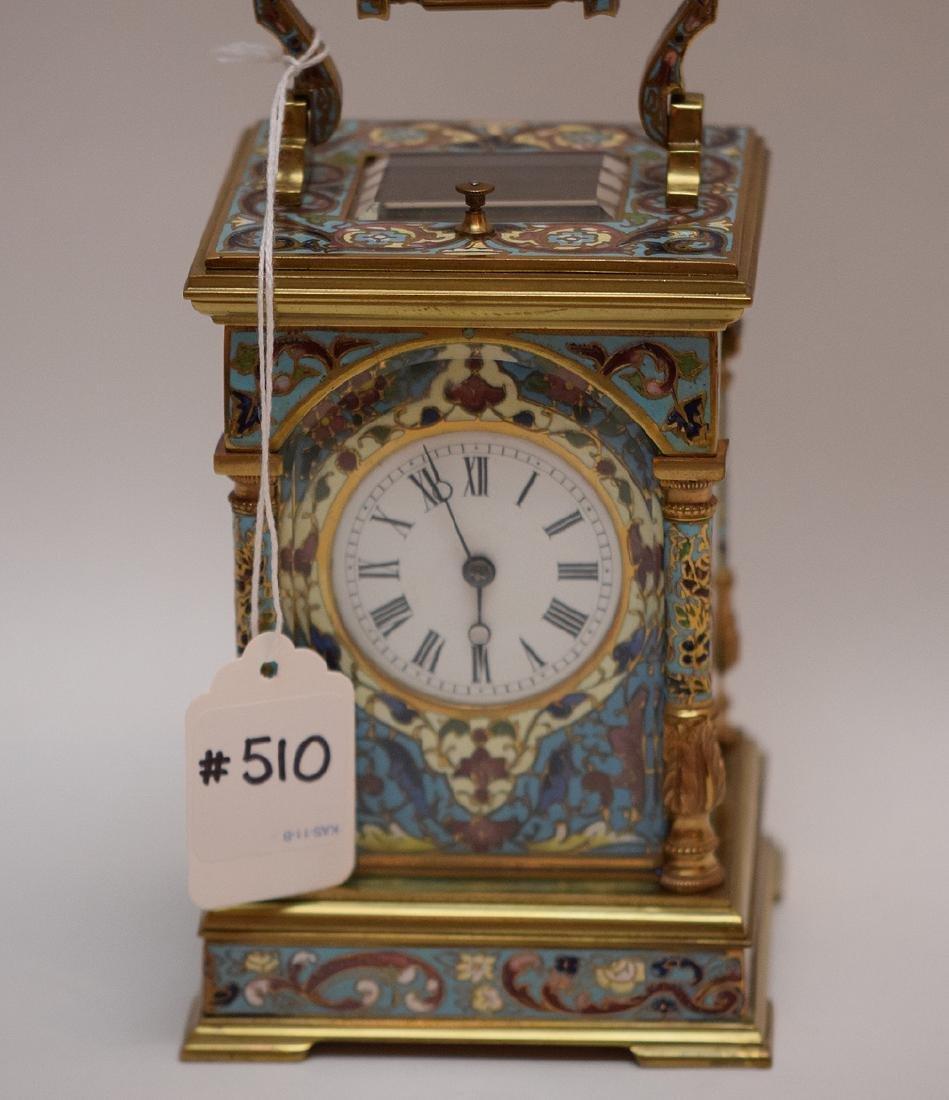 19th Century French Cloisonné Enamel Carriage Clock