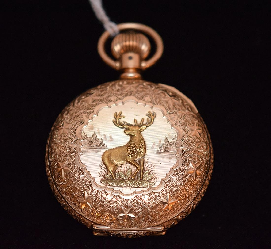 14K Yellow Gold Elgin Pocket Watch With Hunt Case.