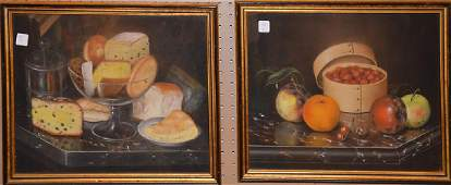 Pair of pastel still life paintings, cheese & breads &