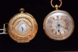 Antique 18K Yellow Gold Pocket Watches  1 With Diamond