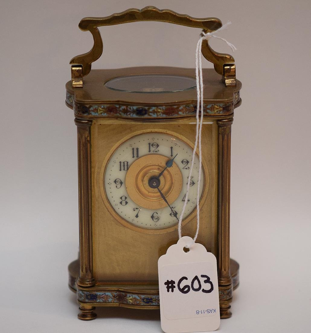 French Brass & Cloisonné Enamel Carriage Clock.  The