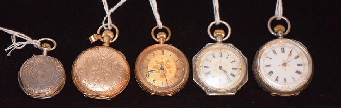 Lot 5 Ladies Pocket Watches.  1 Elgin Gold Filled with