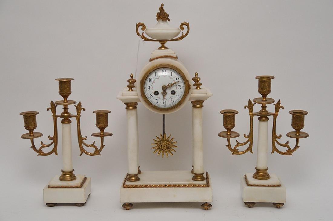 19th Century Gilt Bronze & White Marble Clock