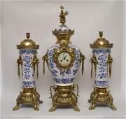 19th Century Gilt Bronze  Delft Porcelain Clock