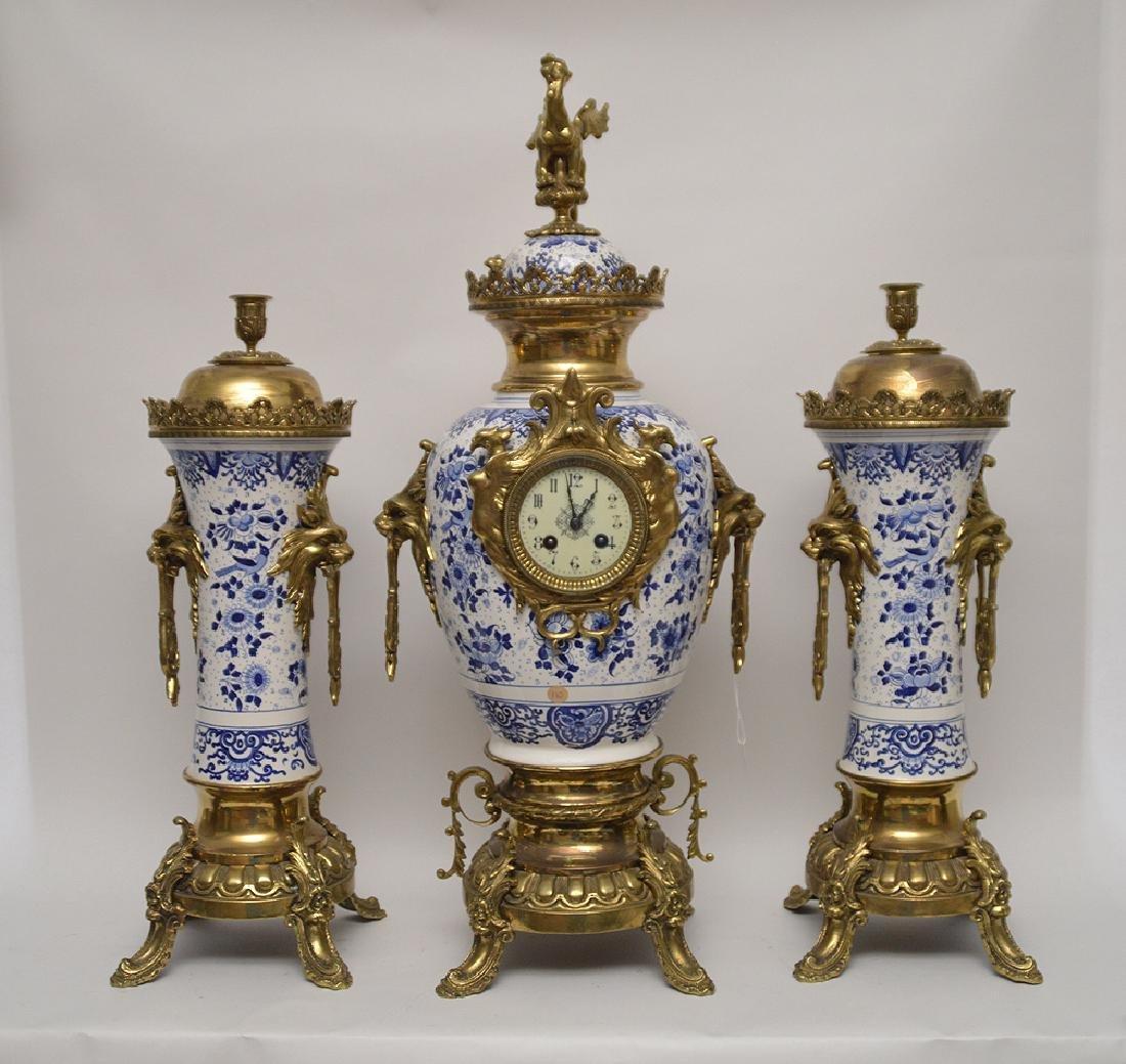 19th Century Gilt Bronze & Delft Porcelain Clock