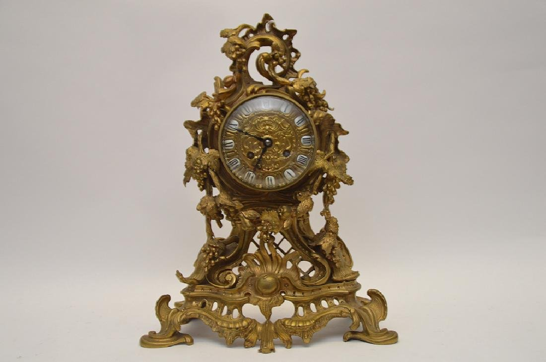 French Bronze Clock with scroll & grape vine design and