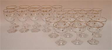Set 24 Pieces Crystal Stemware with gilt stars and gilt