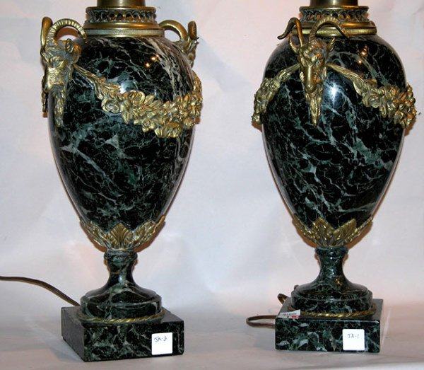 1001: Pair of stunning green marble lamps with draped b
