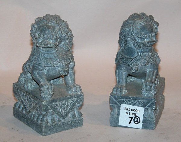 "1007: Pair of small marble Foo dogs, hand carved, 5""h"