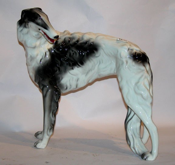 1009: Large Art Deco Russian wolfhound porcelain by Gol