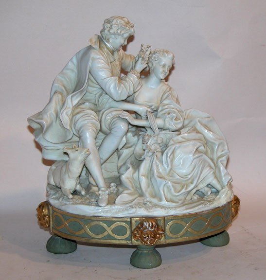 1010: German porcelain Victorian woman & man with dog a