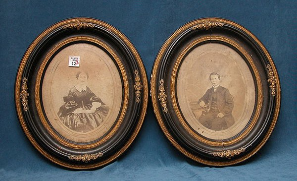 1012: Pair of framed oval photographs of mid 19th centu