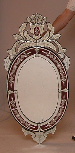 1015: Large Venetian Mirror, red & clear, fancy etched