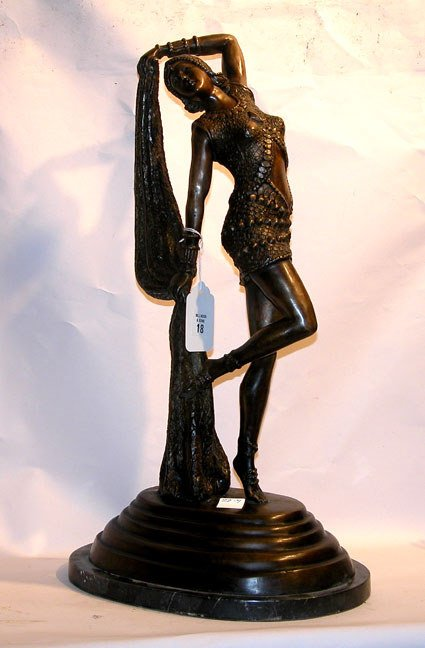 1018: Bronze Deco dancer on marble base, dancer  stands