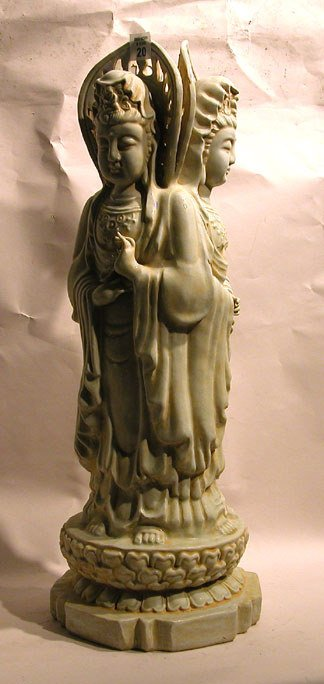 1020: Vintage 3-figure, 3-sided statue of Kwan Yin, 22""
