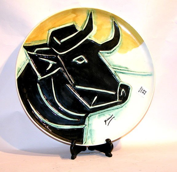 "1022: Large Picasso charger depicting a bull, 14""w,  18"