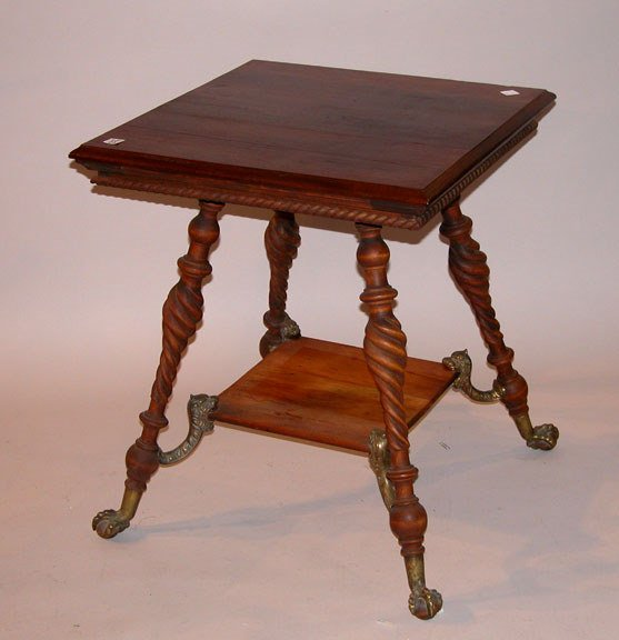 1023: Victorian lamp table square top over 4 rope turne
