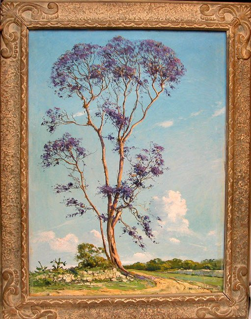 "1050: R. Gomez Compuzano, oil on canvas, ""Jacaranda Tre"