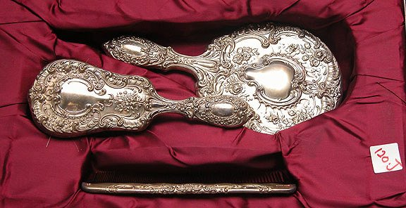 1120J: 3 piece Gorham Sterling Repousse Silver Brush &